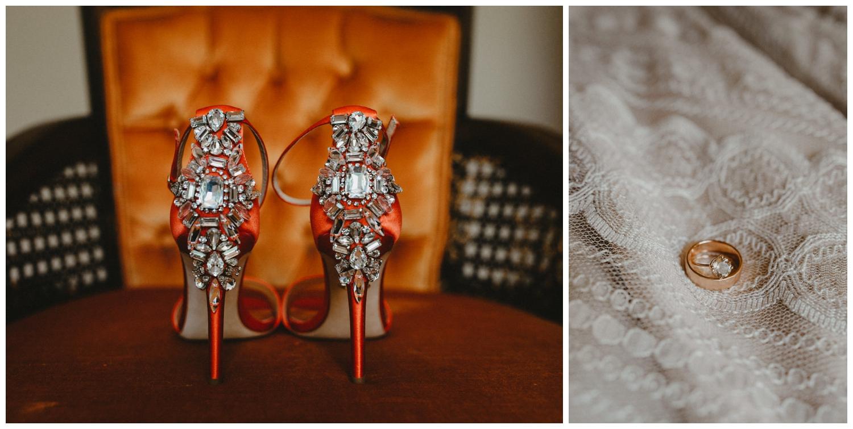 red bejeweled pair of high heels