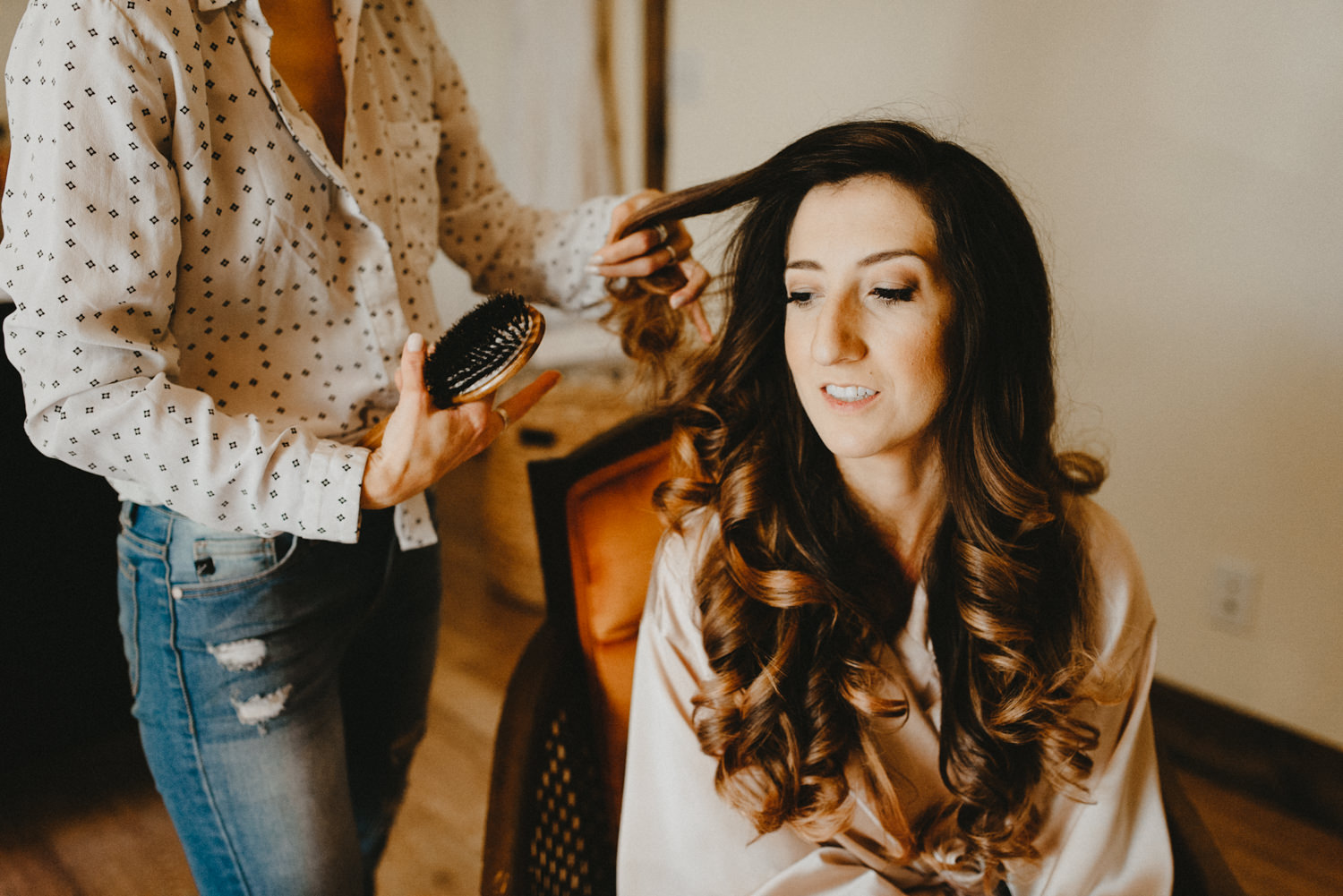 girl gets her hair done