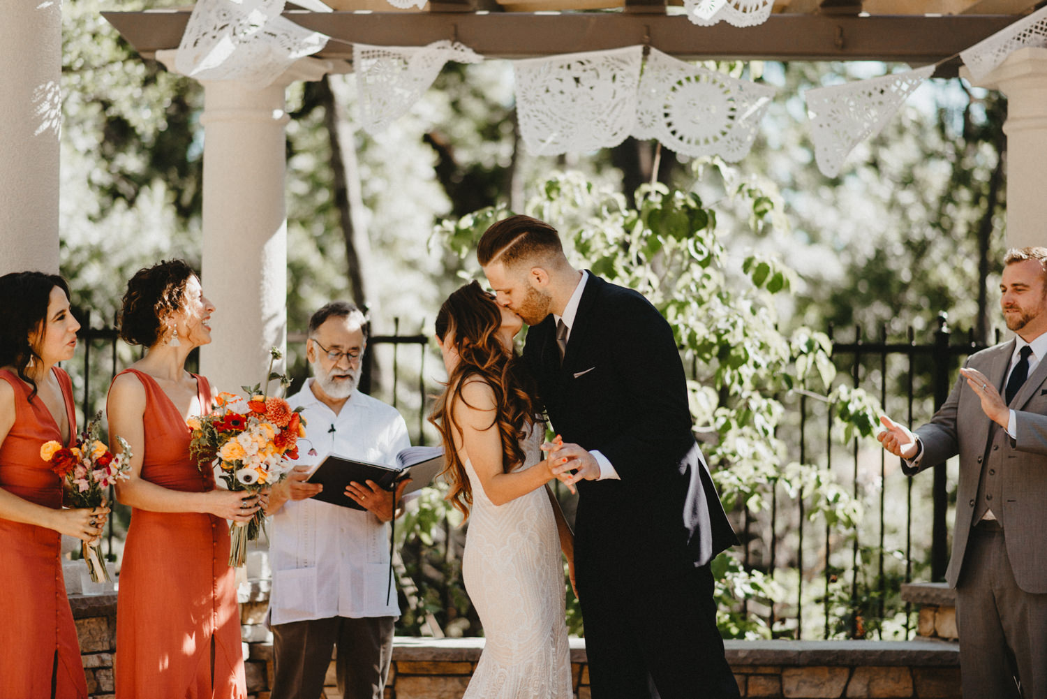 FIrst Kiss at chico ca wedding