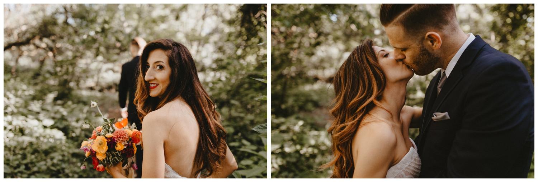 bride looks back over her shoulder at camera in chico ca