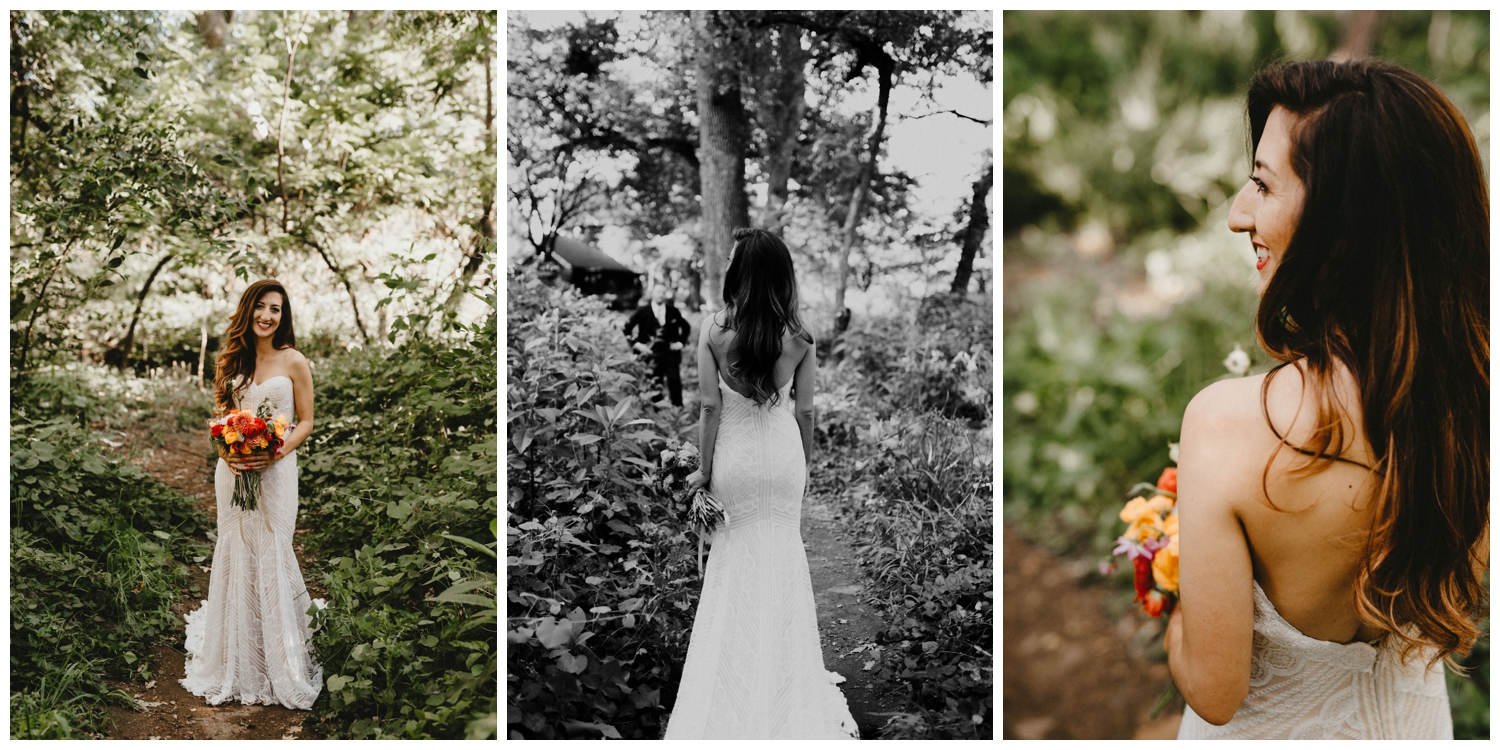a bride holds her bouquet in bidwell park.