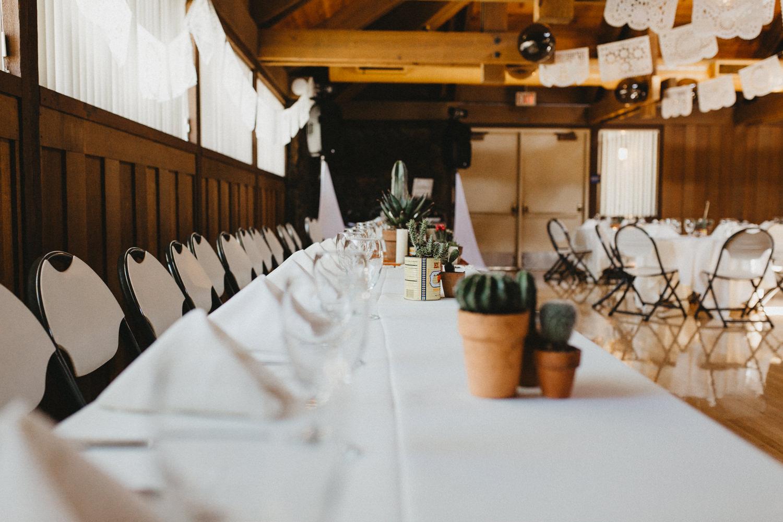 cactus and dia del muerto wedding table