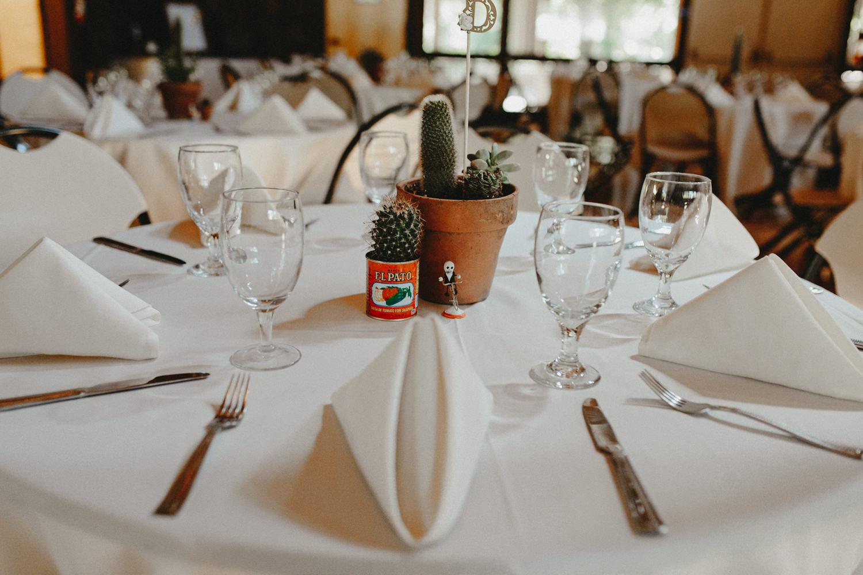 Dia de los Muertos table settings at wedding