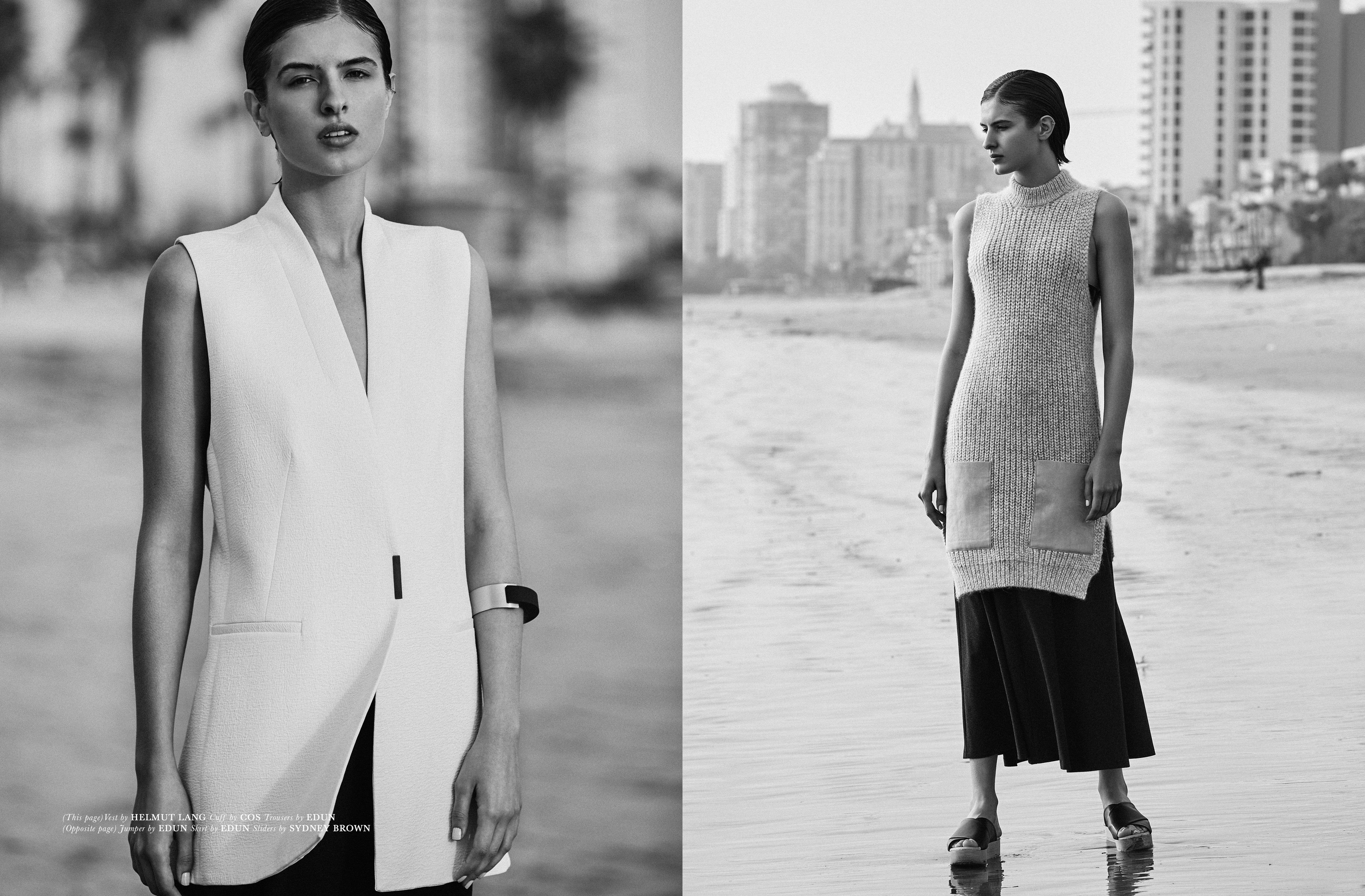 (Left) Vest by   HELMUT LANG  , Cuff by   COS  , Trousers by   EDUN  .   (Right) Jumper & Skirt by   EDUN  , Sliders by   SYDNEY BROWN  .