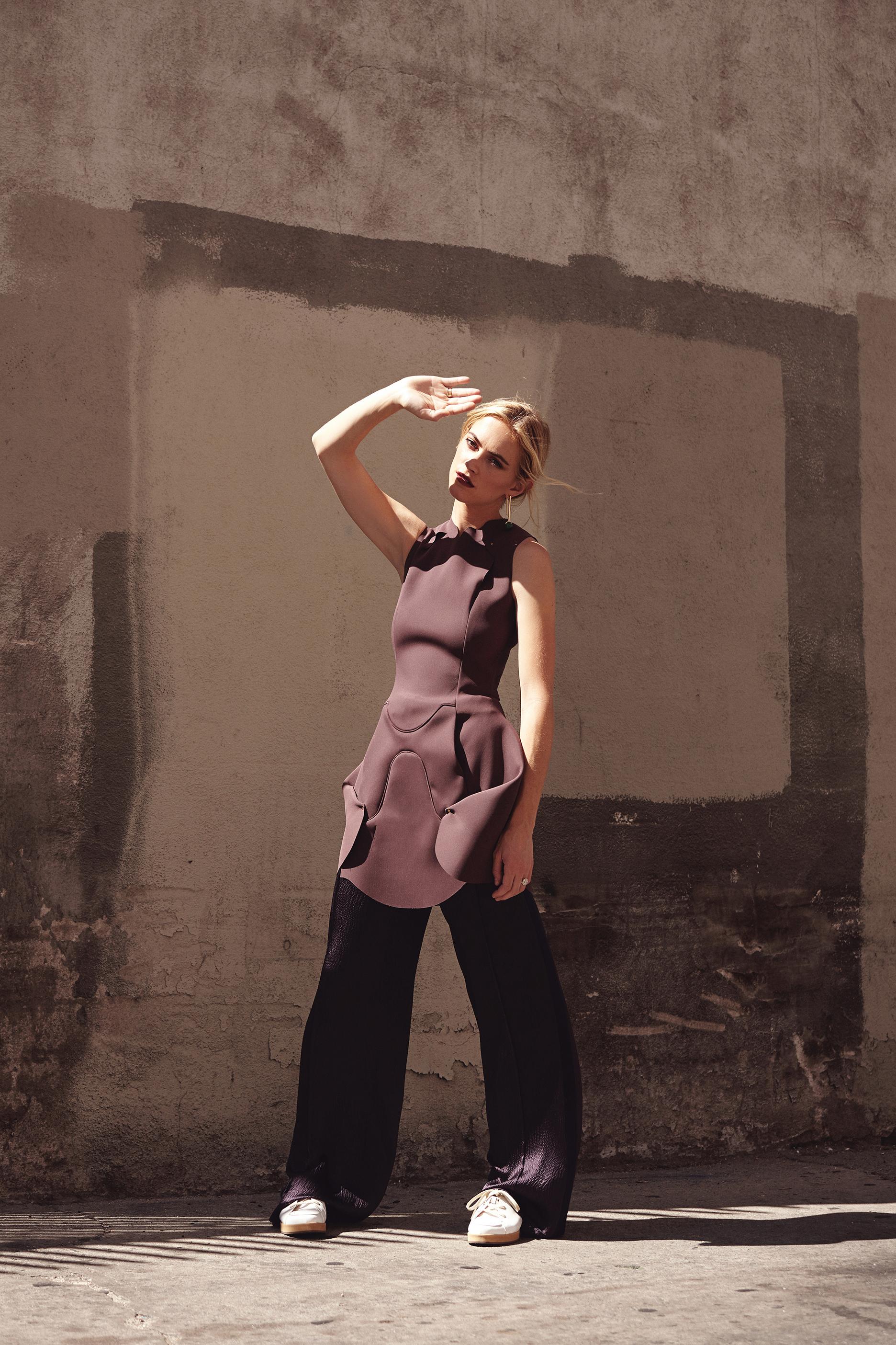 Dress by   ESTEBAN CORTAZAR  , Pants & shoes by   MAIYET  , Earrings by   ZARA  , Ring by   CARTIER  .
