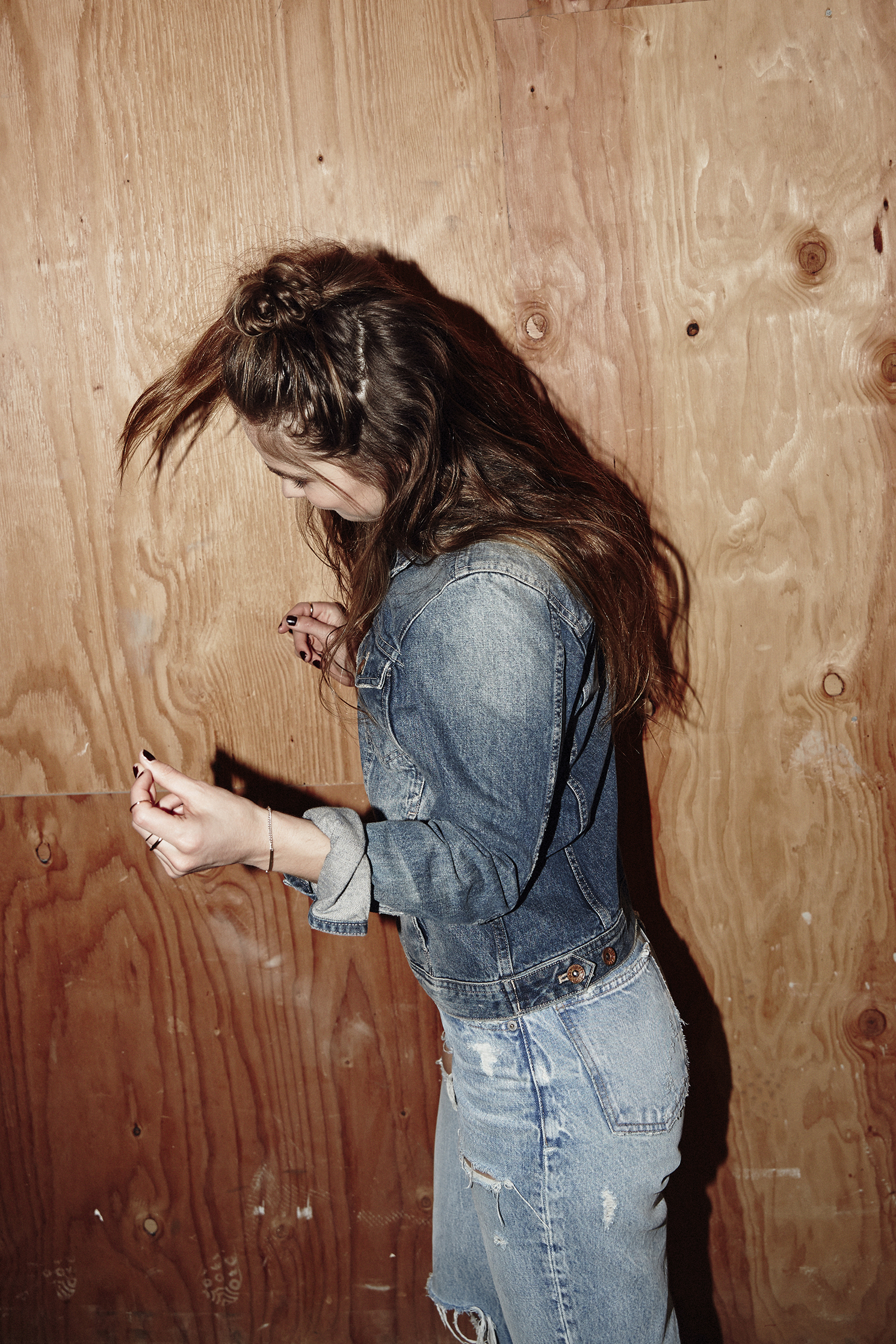 Jacket by   MADEWELL  , Jeans by   MOUSSY  .