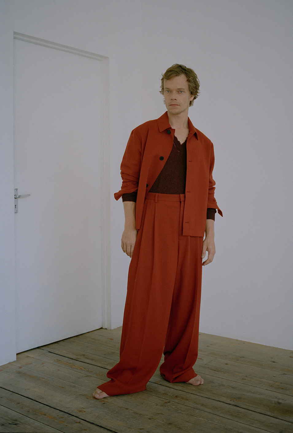 Jacket and trousers by   MCQ  , Knit by   LANVIN