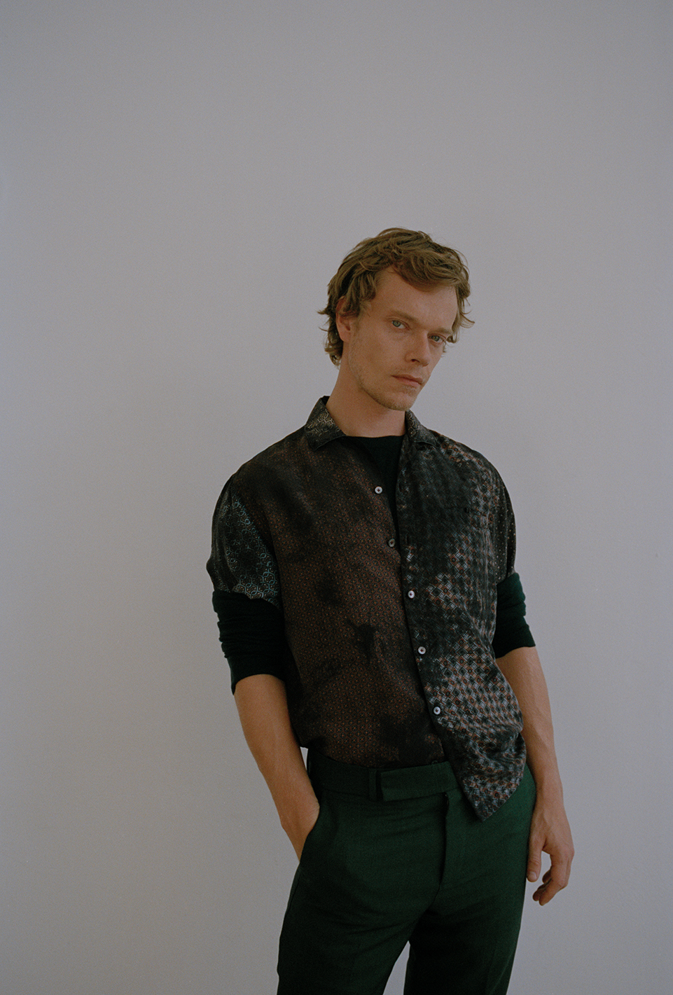 Knit by   NICOLE FARHI  , Shirt by   LANVIN  , Trousers by   PAUL SMITH