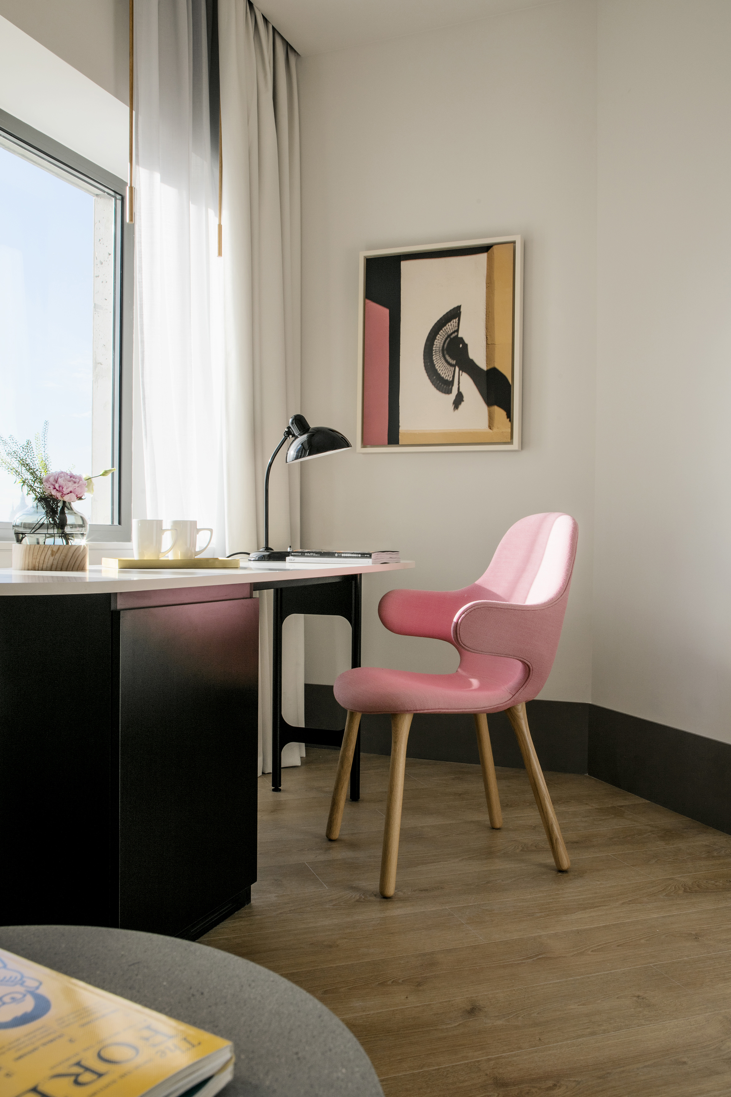 Standard Room: Catch Chair by &tradition, Kaiser Idell Table Lamp by Fritz Hansen, Wall Picture by KlunderBie for Hotel Barceló Torre de Madrid