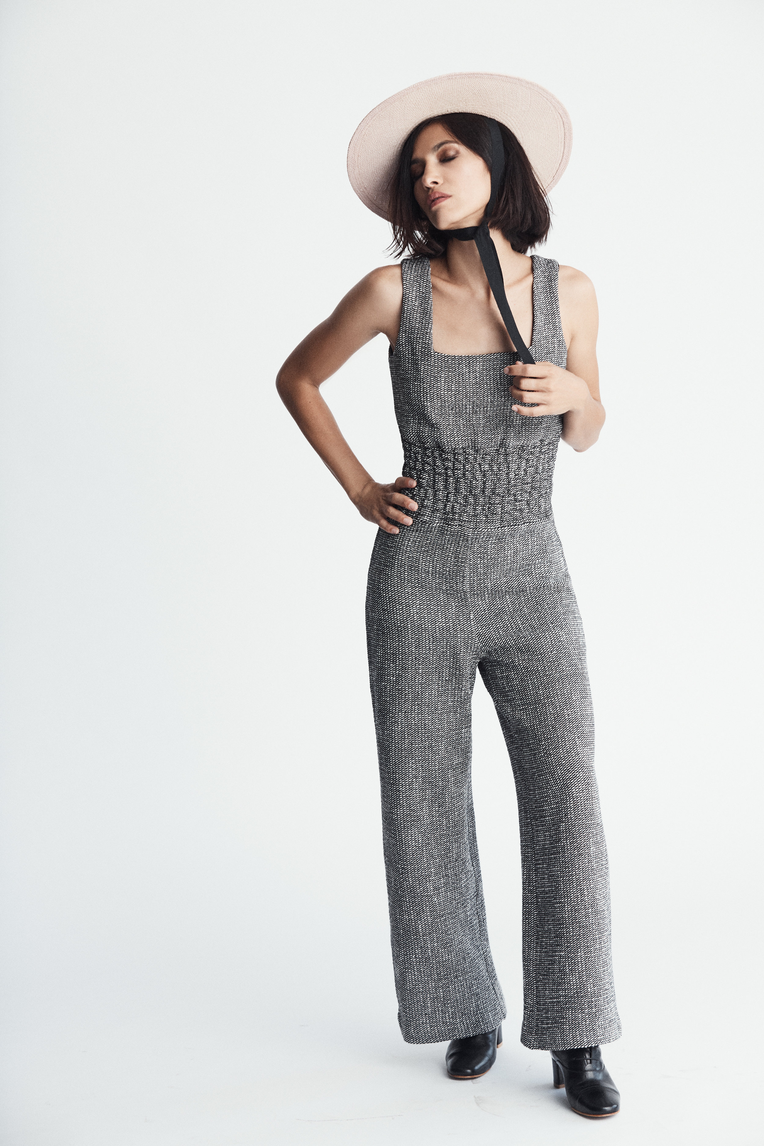 Jumpsuit by   MAJE /   Bloomingdales Beverly Center , Shoes by   BY FAR  , Hat by   GLADYS TAMEZ
