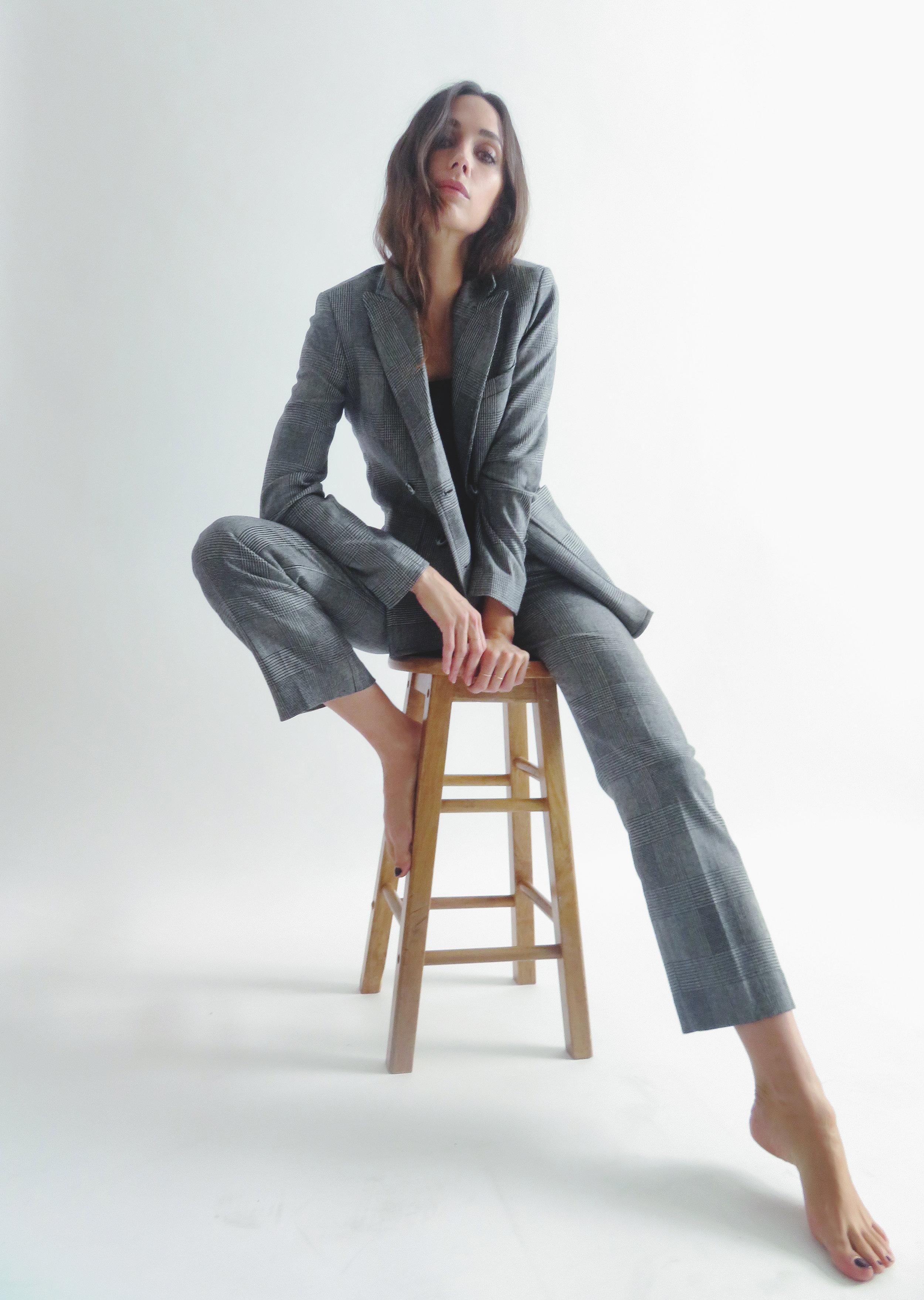 Blazer and trousers by   ROUJE  ,Silk cami by   TIBI  ,Jewelry by   CATBIRD