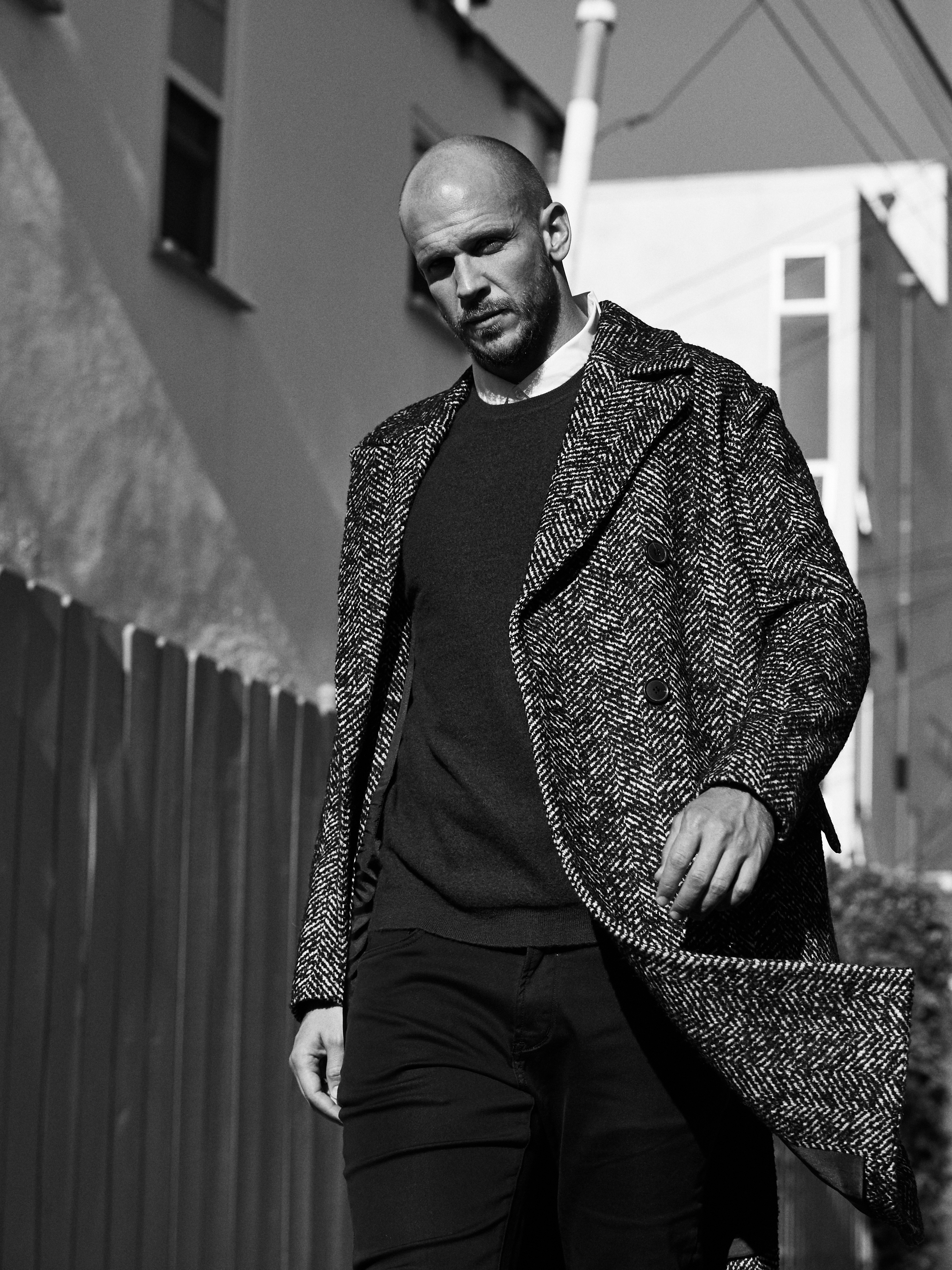 Coat by   THEORY  ; Shirt by   JOHN VARVATOS    |    Bloomingdales Beverly Center  ; Sweater by   VINCE    |    Bloomingdales Beverly Center  ; Denim by   RAG & BONE