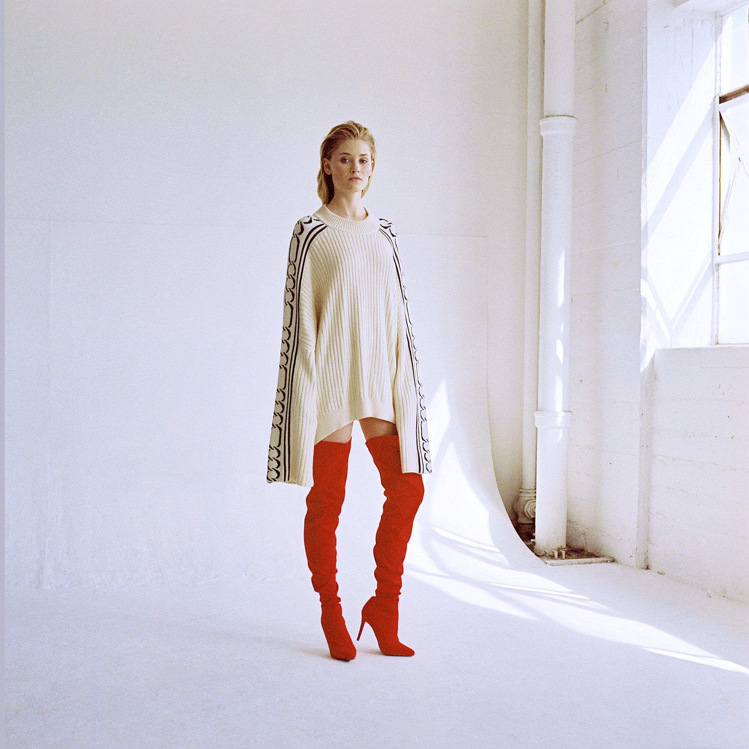 Jumper by   PARI DESAI  ; Boots by   MANOLO BLAHNIK
