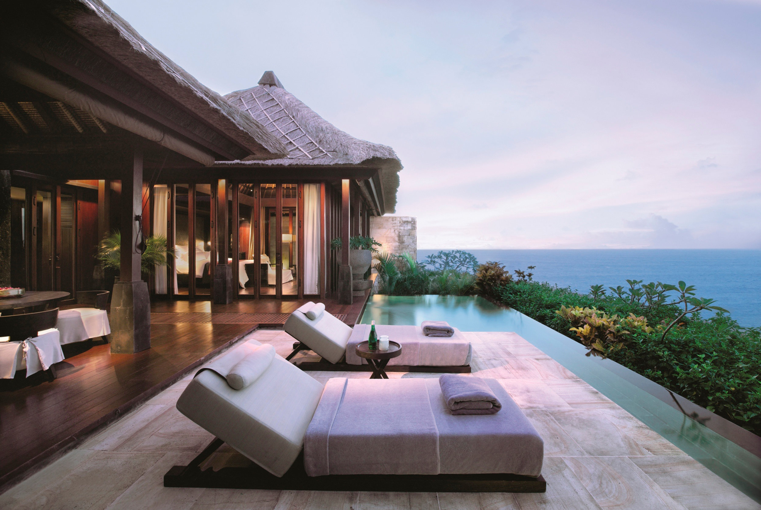 Patio and private plunge pool at the ocean villa.