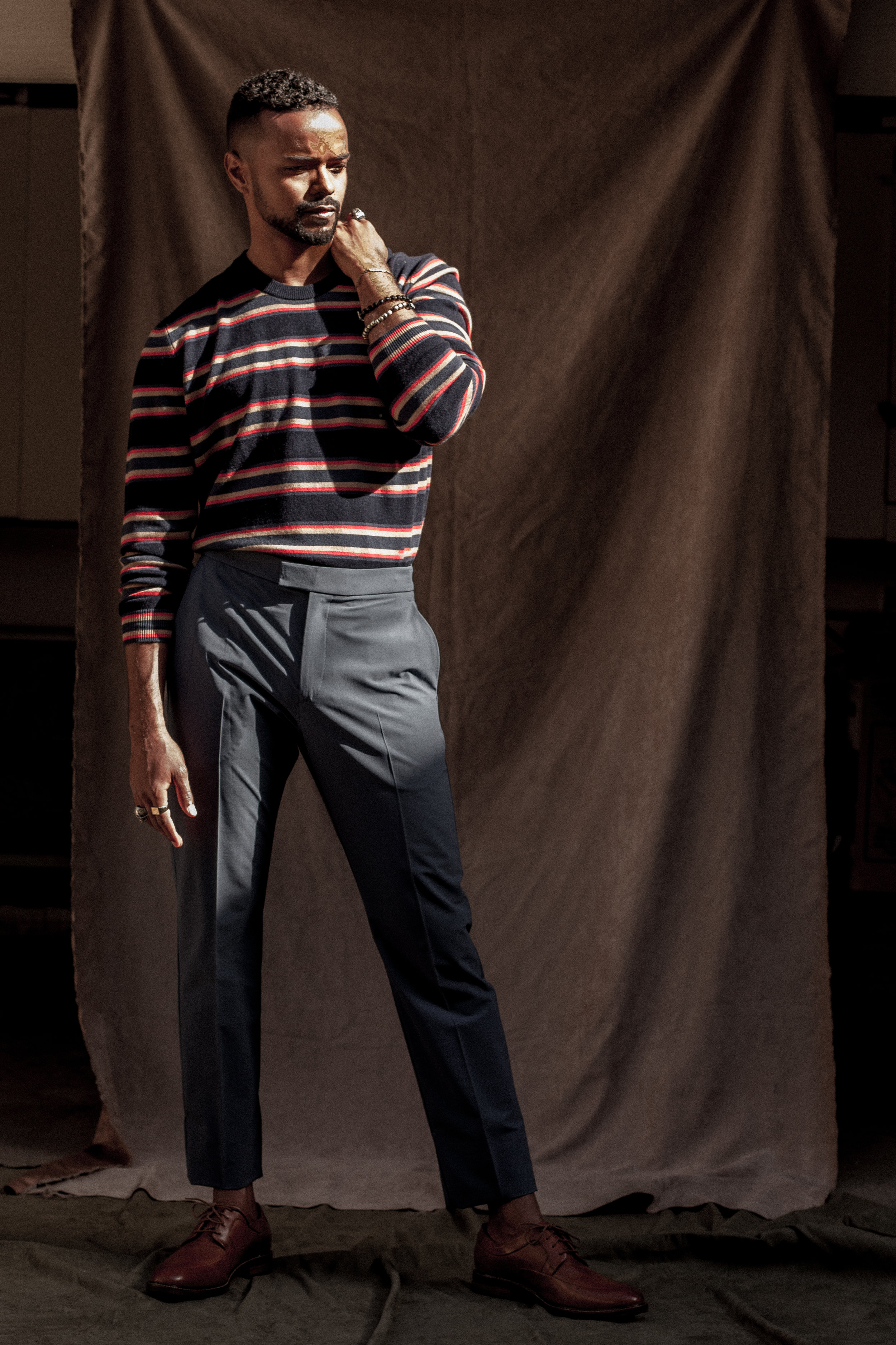 Sweater by   PAUL SMITH  ; Pants by   THEORY  ; Shoes by   COLE HAAN