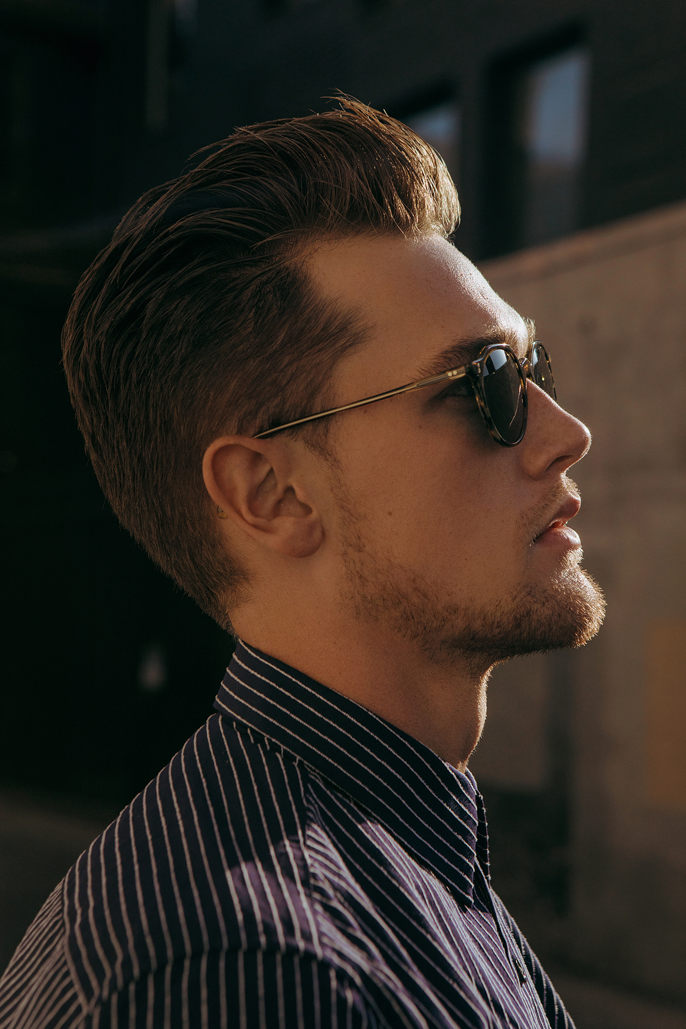 Shirt by   THEORY  ; Sunglasses by   OLIVER PEOPLES