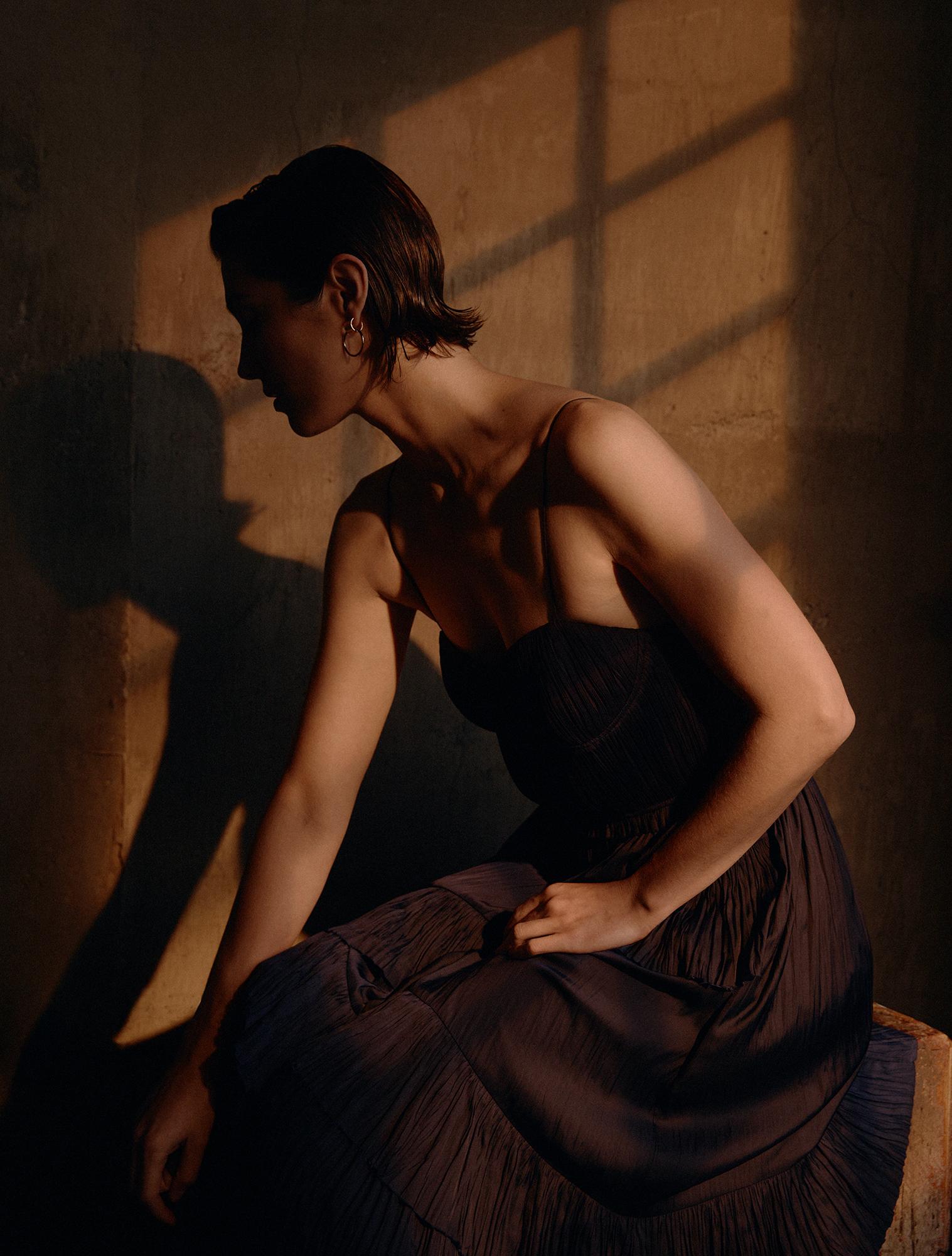 Dress by   ULLA JOHNSON  ; Earrings by   JENNY BIRD