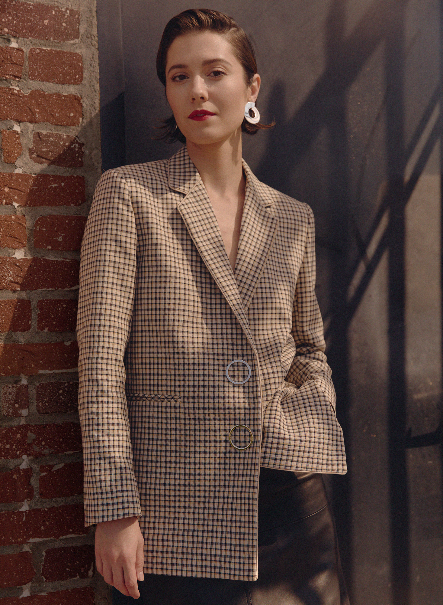 Blazer and skirt by   SANDRO   |  Bloomingdales Beverly Center ; Earrings by   JENNY BIRD