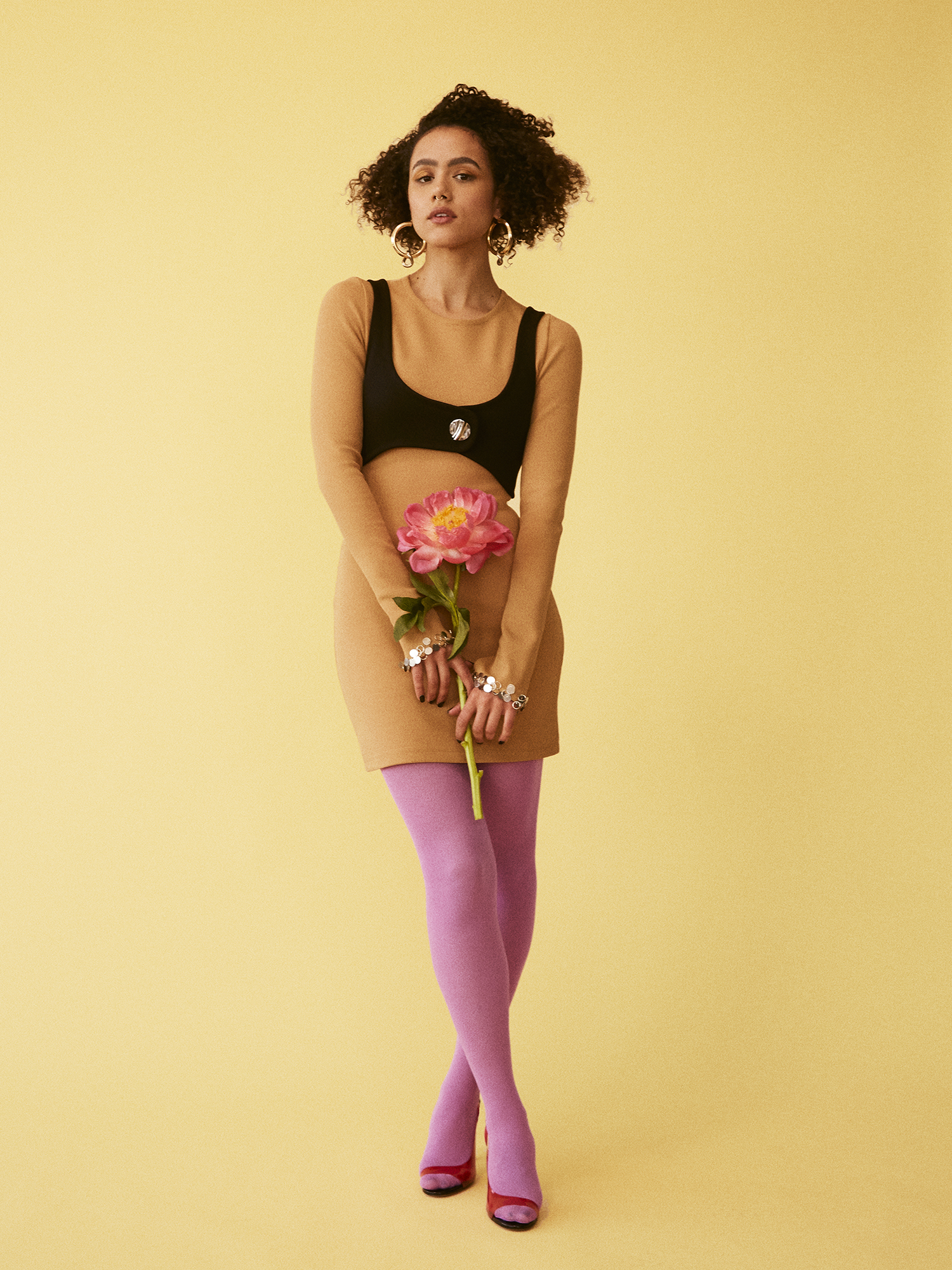 Dress by   3.1 PHILLIP LIM  ; Tights by   WE LOVE COLORS  ; Shoes by   ALEXANDRE VAUTHIER  ; Earrings by   LAURA LOMBARDI