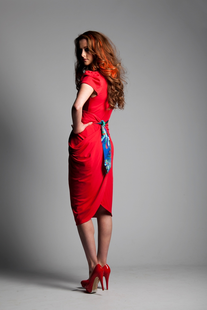 Winsor Red Draped Jersey Dress with Humming Bird Printed Belt.jpg