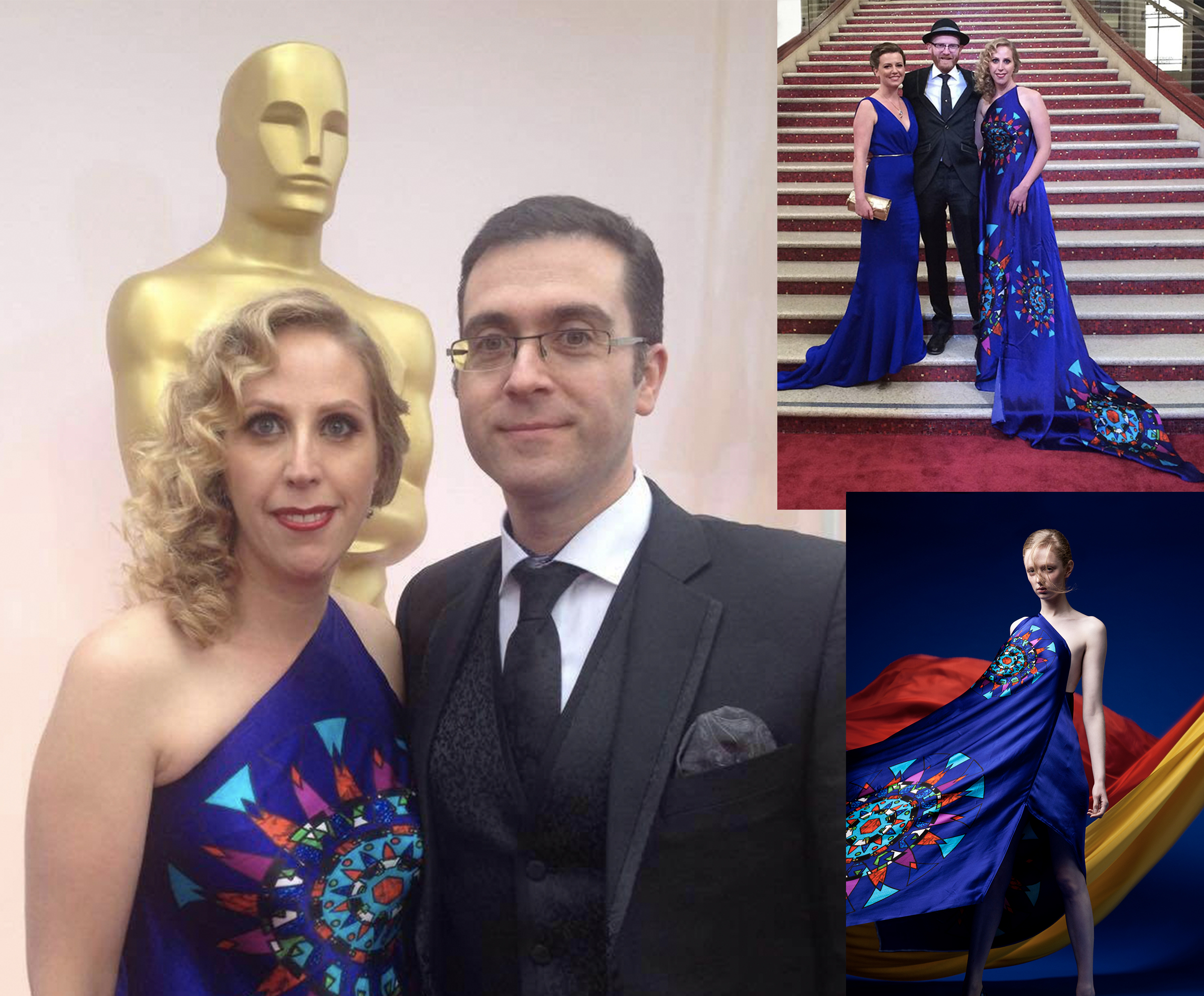 In 2015, Liselott Olofsson wore the Circular Stainglass Digital printed one shoulder gown, inspired by the vivid colours from the stain glass windows made by Irish Artist Harry Clarke at the Oscar while accompanying her husband, Tomm Moore.
