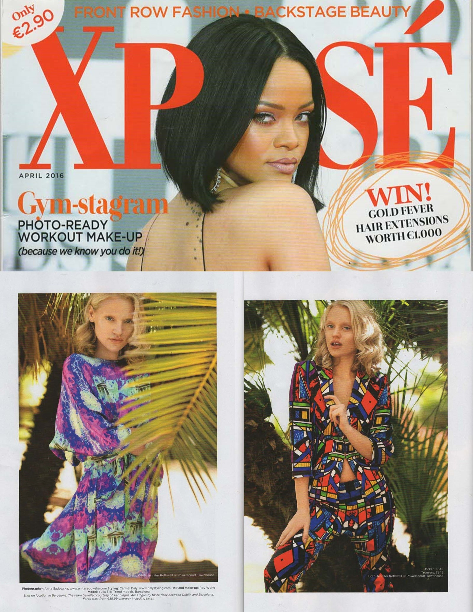 Two of our beutiful garments appeared in Xpose Magazine of April 2016, i.e. the Geometric Stained Glass woman suit and the GPO dress