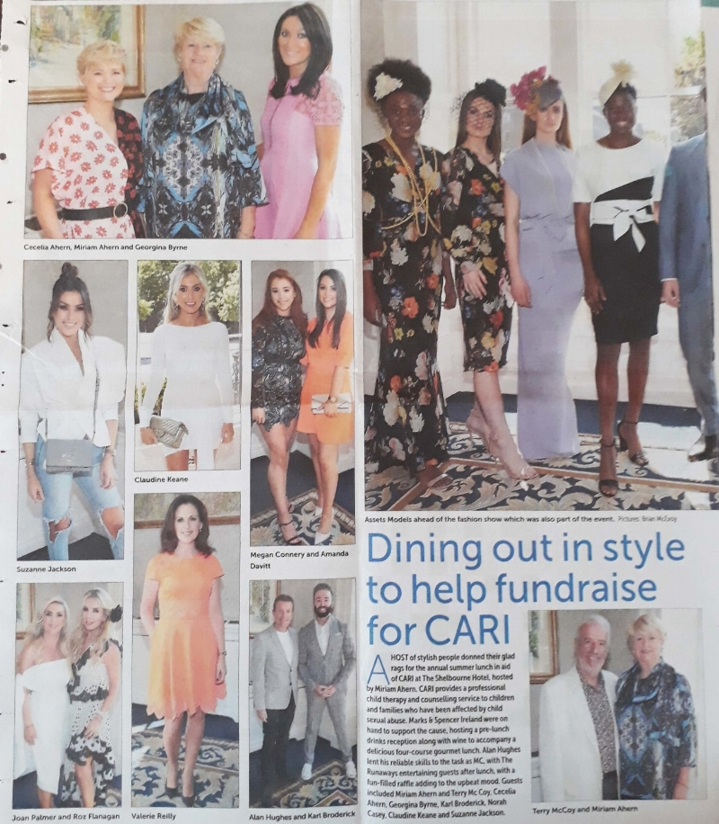 Miriam Ahern wore our fabulous Madeline print top and scarf for the annual summer lunch in aid of CARI last May 25th, 2018. CARI provides child therapy and counselling service to children and families who have been affected by child sexual abuse.