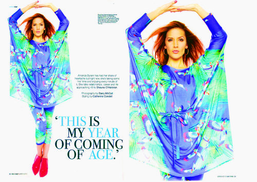 Amanda Byram chose to wear our amazing Hummingbird kimono and the Hummingbird legging for the pictures on an interview with Shauna O'Halloran   Irish Tatler, March 2013