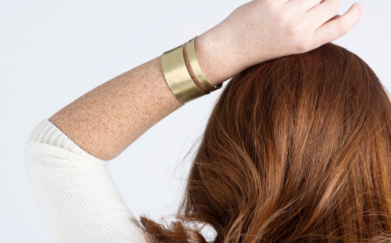 Art Deco-style red brass cuff bracelet and earrings