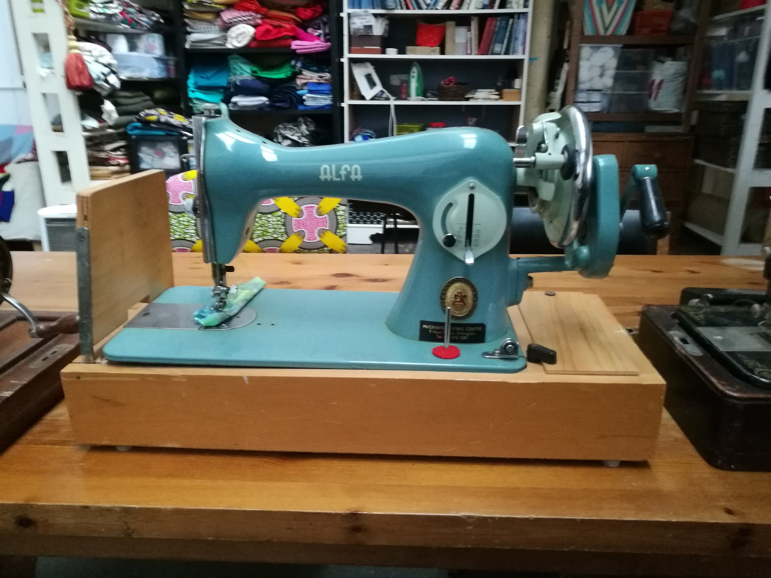 'New' Alfa sewing machine in our textiles workshop