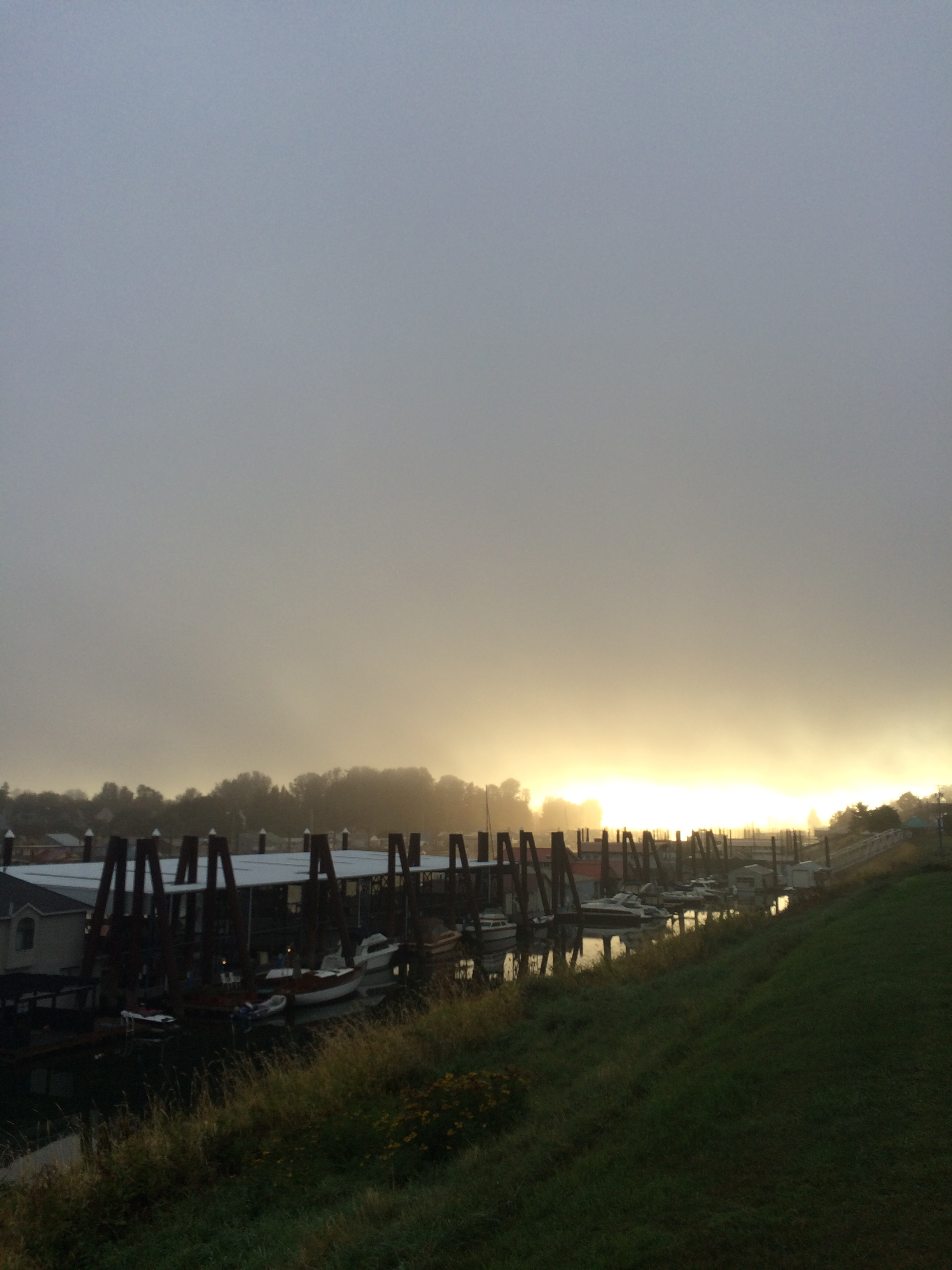 Fog clearing as the sun rises over the Columbia River in Portland.
