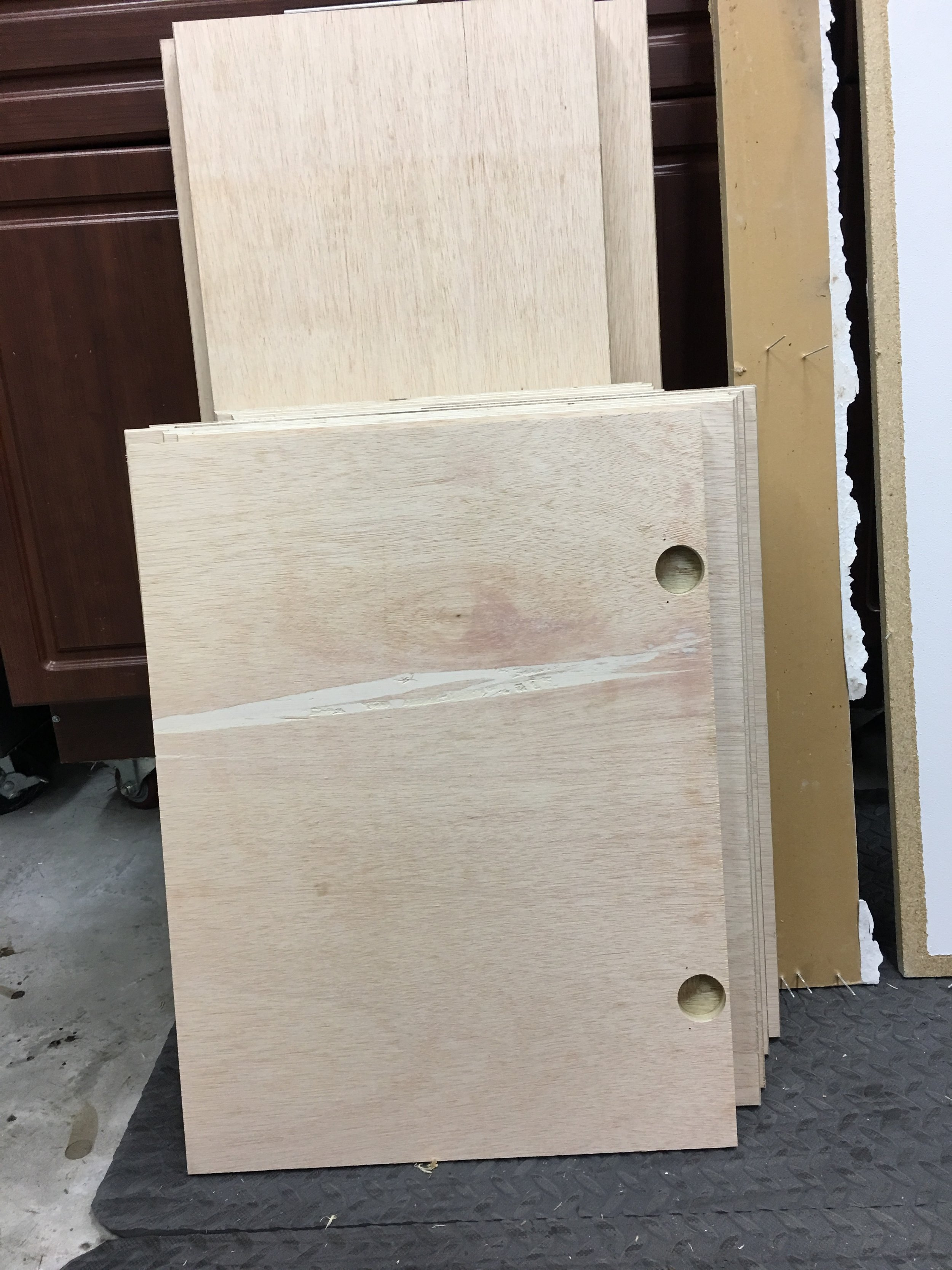 Our new cabinet and drawer faces made from plywood.