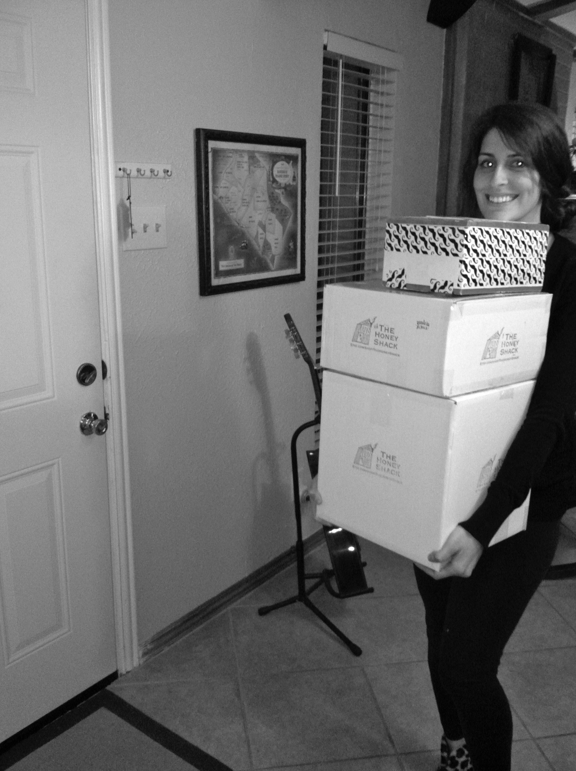 One of the early days, sending a few packages out...and I am not sure why one of them is wrapped in mustache duct tape? (pardon my glowing eyes)