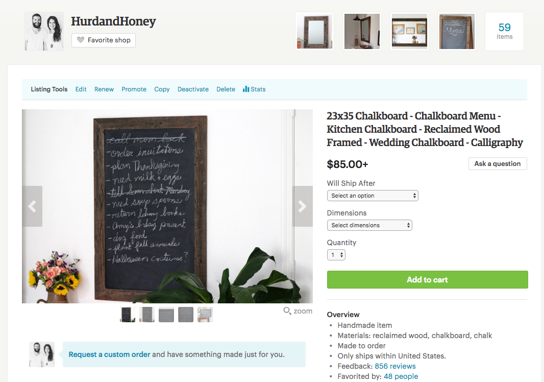 """Our title here is a bit much! I'm thinking """"23 x 35 Chalkboard - Reclaimed Wood Frame"""" would be substantial."""
