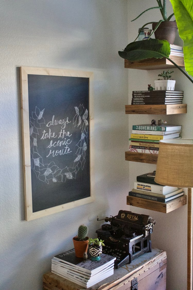 This chalkboard is our newest product, it has a natural wood frame. We still haven't added it to our Etsy shop! Need to do this!