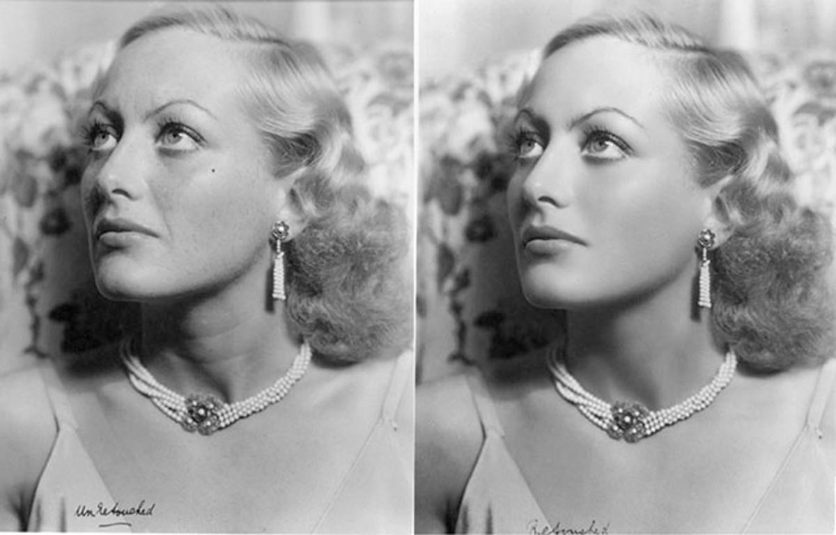 "Joan Crawford, ""photoshopeada"" a mano en 1931."