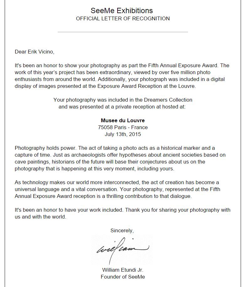 La carta oficial de reconocimiento. Nada como una carta oficial con una firma oficial.
