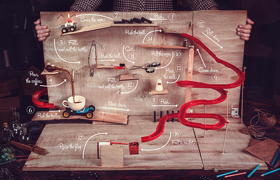 Rube Goldberg coffee machine