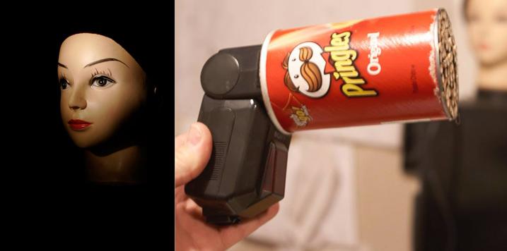 Робота фотограф Глен Дубі вже Macgyvered цю блискучу точку сітки з використанням контейнера і соломинки Pringles.