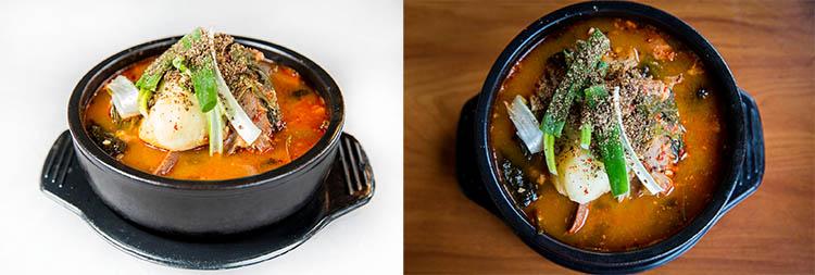 Та сама страва знята на різних фонах - зліва на білому папері, справа - на дерев'яному столі