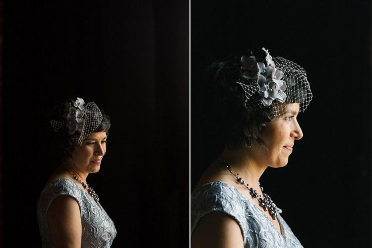 Зліва наречена є далі від джерела світла, і, отже, вона більше в тіні порівняно з зображенням праворуч, де вона стоять перед віконцем і ближче до джерела світла. Так що більше її обличчя освітлюється світлом, що йде з вікна.
