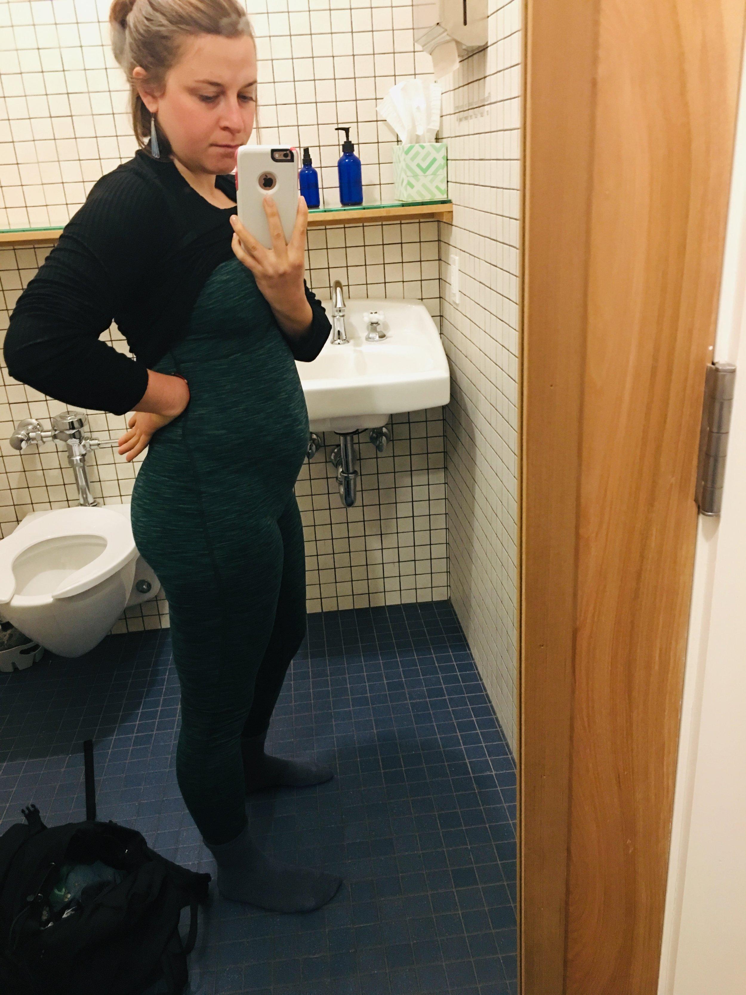 Real life - me a few weeks ago, mega bloated before yoga.