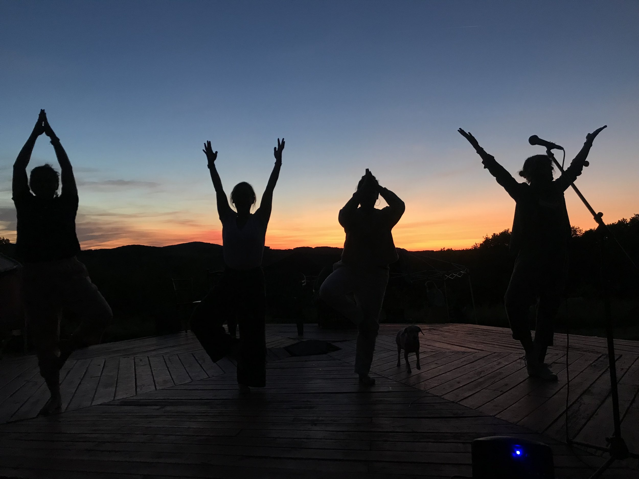 Yogis do sunset in the Catskills - stunning!