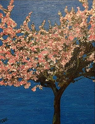 Cherry Blossoms, Vancouver.  Acrylic on Canvass, 12x24. $350