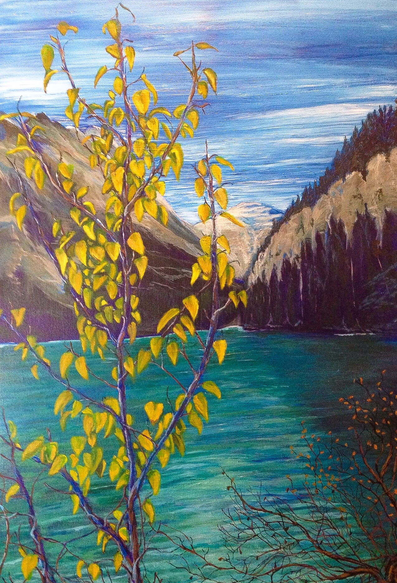 Lake Louise, Autum.   Acrylic on Canvass.  2 feet by 3 feet.  $600
