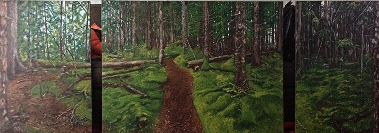 Tlell River Hike, Haida Gwaii. Acrylic on Canvass.  9' x 3'
