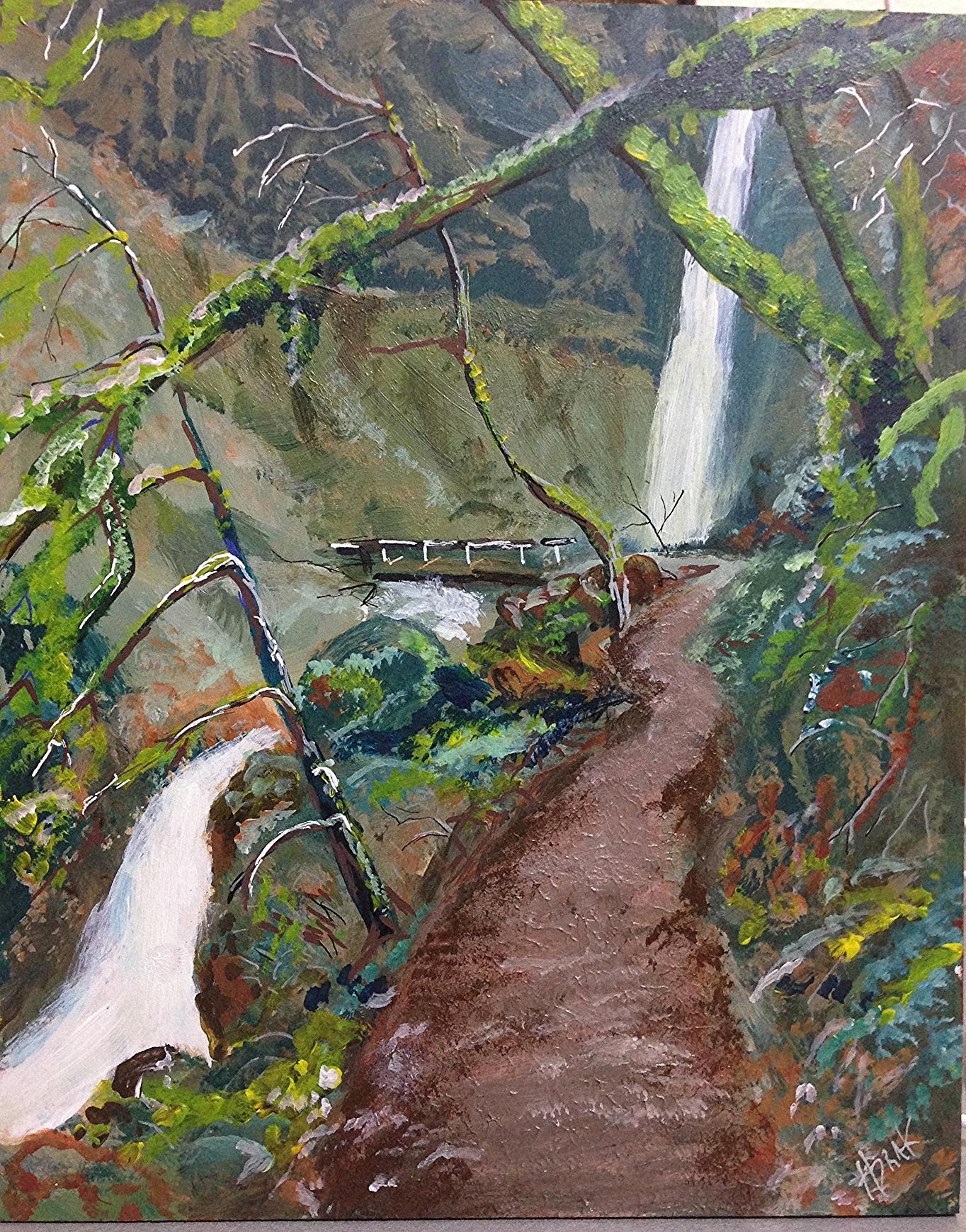"Elowa Falls, Acrylic On Wood Panel, 8""x10"""