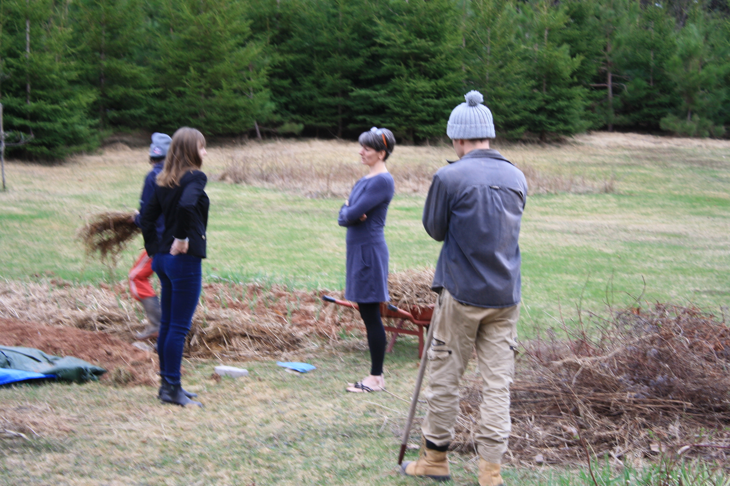 """Sunday afternoon gardening with Sarah Wendt, Karen Graves, Jan Smith, and """"the supervisor"""" Cam MacDuffee"""