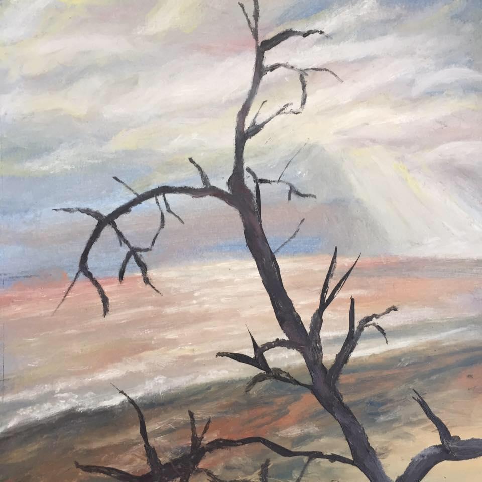Sunset, Gibraltar Point. Oil on Paper