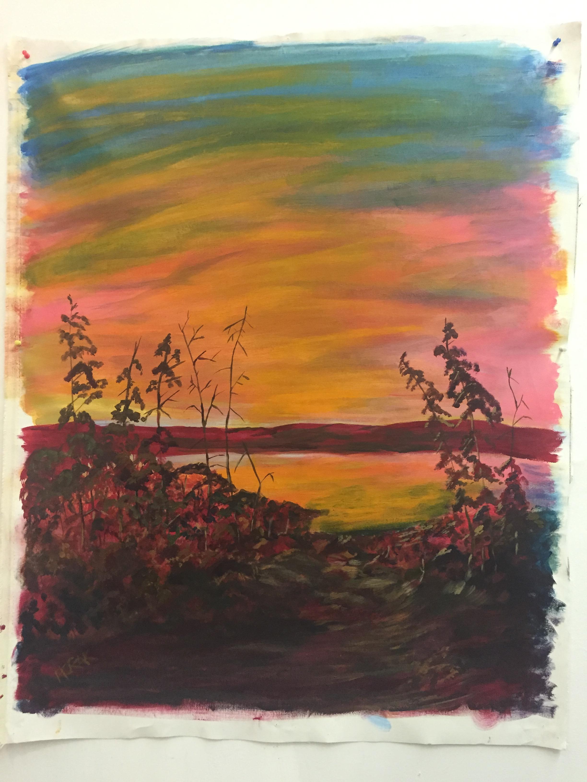 Sunset, P.E.I. - Acrylic on Canvass.  3'x5'